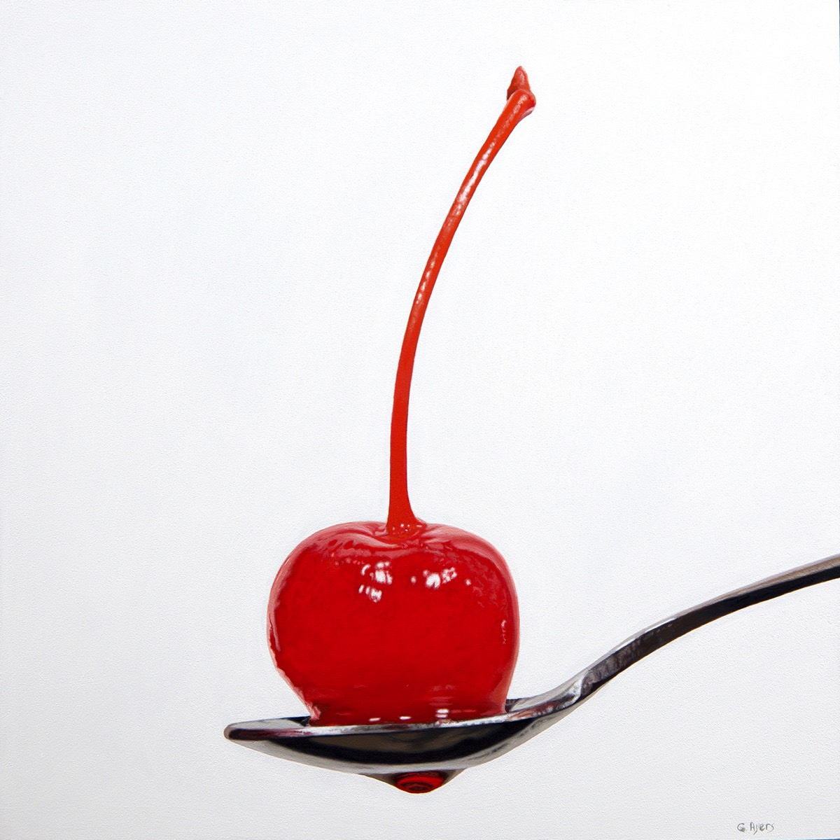 Cherry Drop - 12x12 - oil on panel